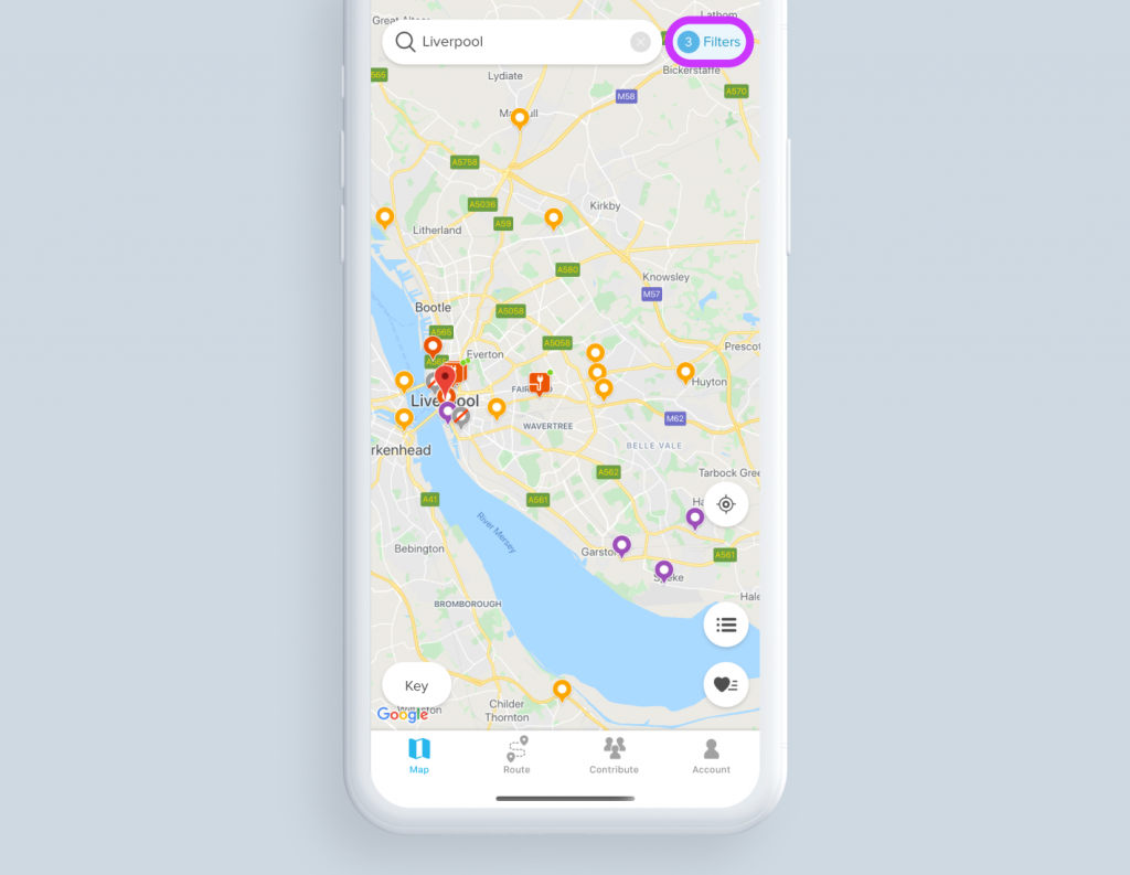 Chargemap mapping views when filters are activated