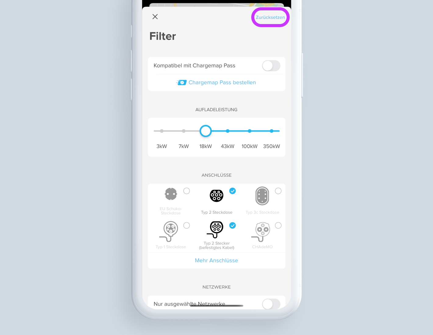Ansicht des Filterbildschirms der Chargemap-App