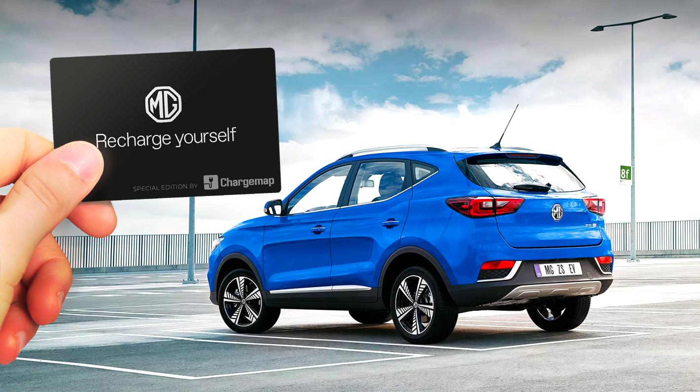 Chargemap Pass édition MG Motor devant le nouveau SUV électrique MG ZS EV