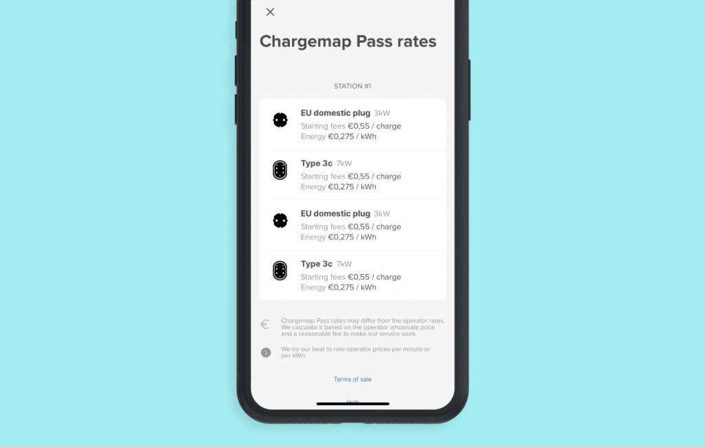 Screenshot of the new display of Chargemap charging rates