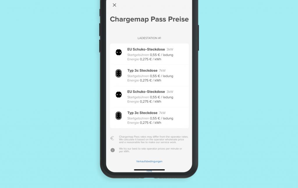 Screenshot der neuen Anzeige der Chargemap-Tarife