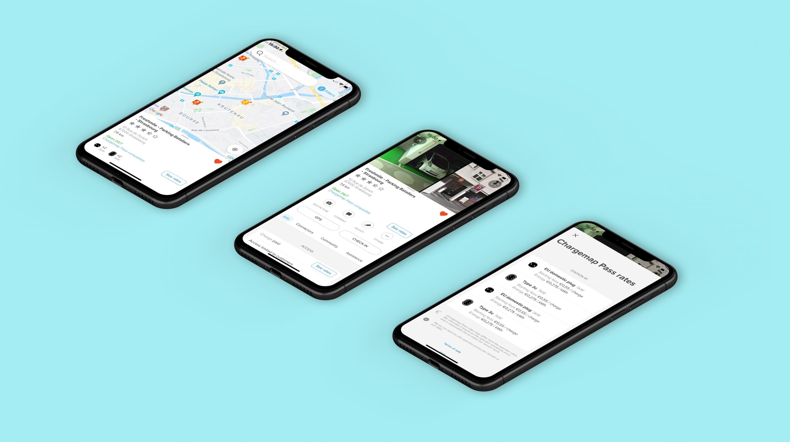 Visuals of the Chargemap mobile app - design refresh and UX improvements