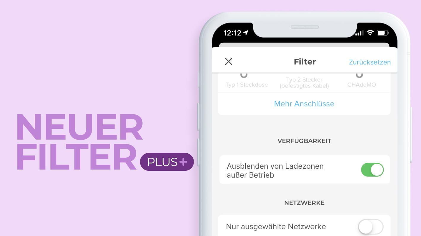 Ansicht des neuen Filters Chargemap Plus zum Ausblenden von Ladestationen außer Betrieb