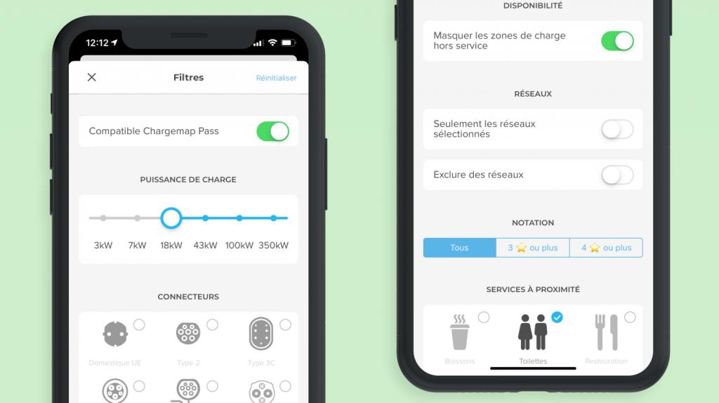 Filtres de recherche Chargemap avec l'outil d'itinéraire