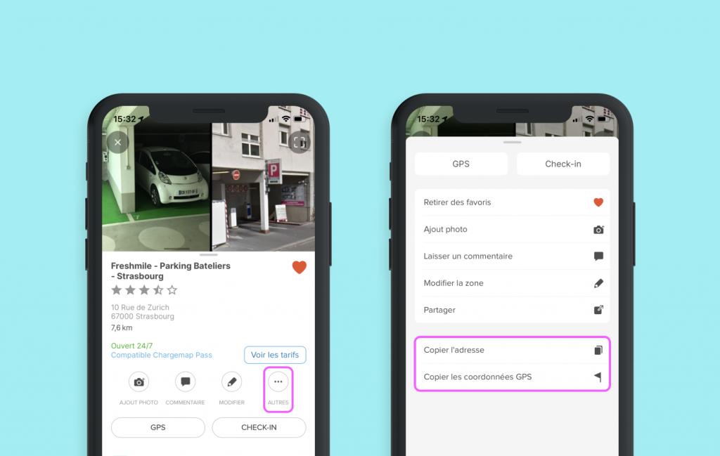 Capture d'écran de la nouvelle fiche de détails Chargemap déployée