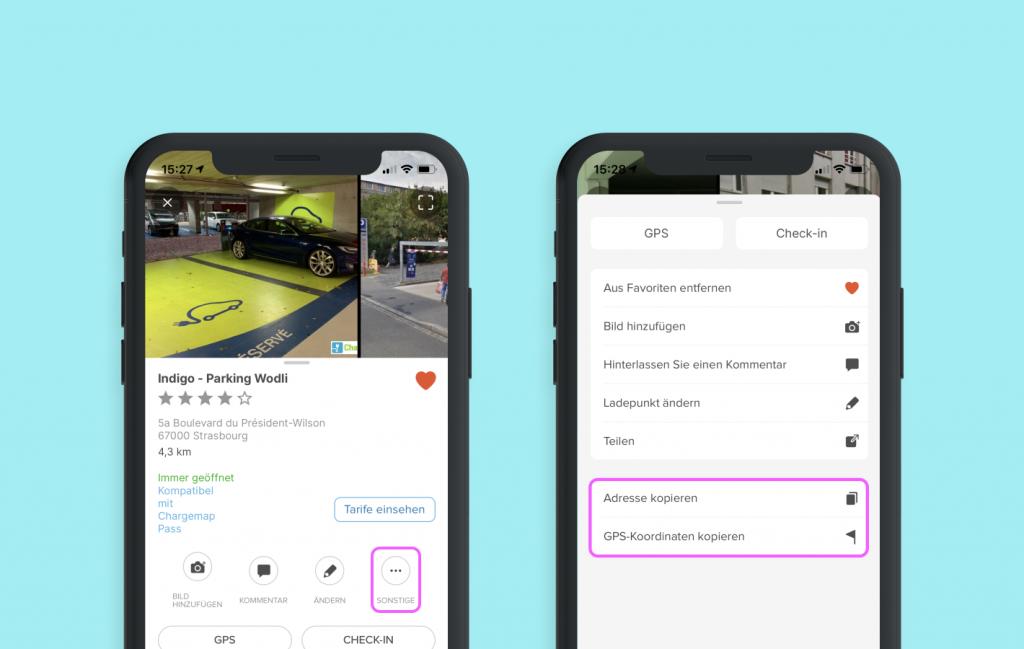 Chargemap-Screenshot der neuen Funktionen Adresse und GPS-Koordinaten kopieren
