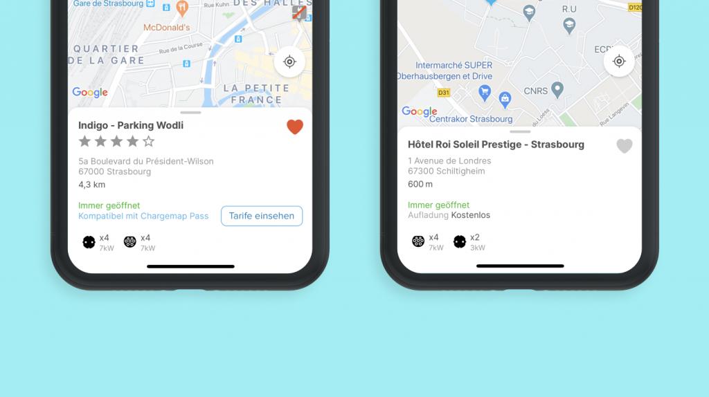 Screenshots der Chargemap-App mit der neuen Vorschau der Stationsdetails
