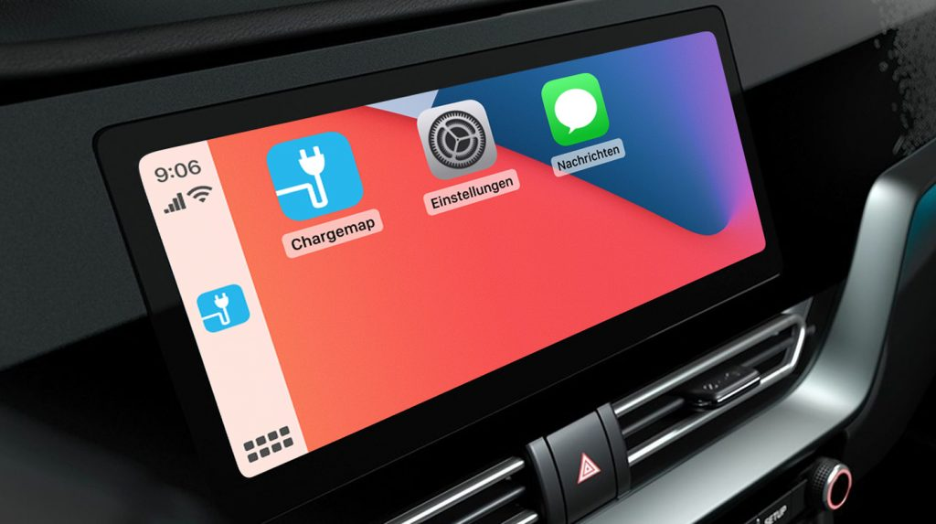 Ansicht der Chargemap-App auf einem CarPlay-Bildschirm