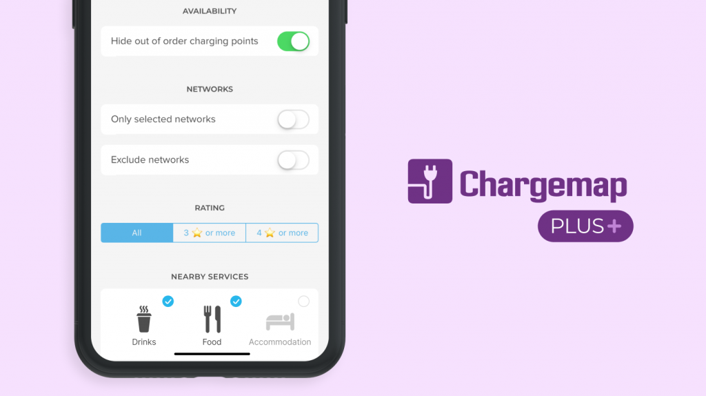 Screenshot of the Chargemap Plus advanced filters
