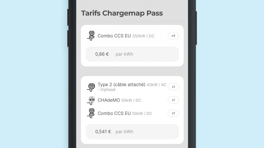 Affichage des tarifs de recharge d'une station Ionity dans Chargemap