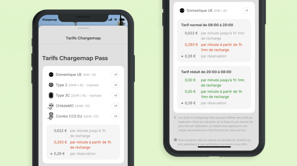 Affichage de tarifs de recharge complexes dans Chargemap