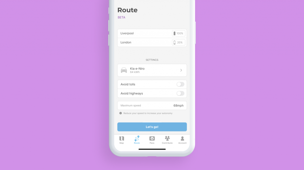 Chargemap route planner configuration screen
