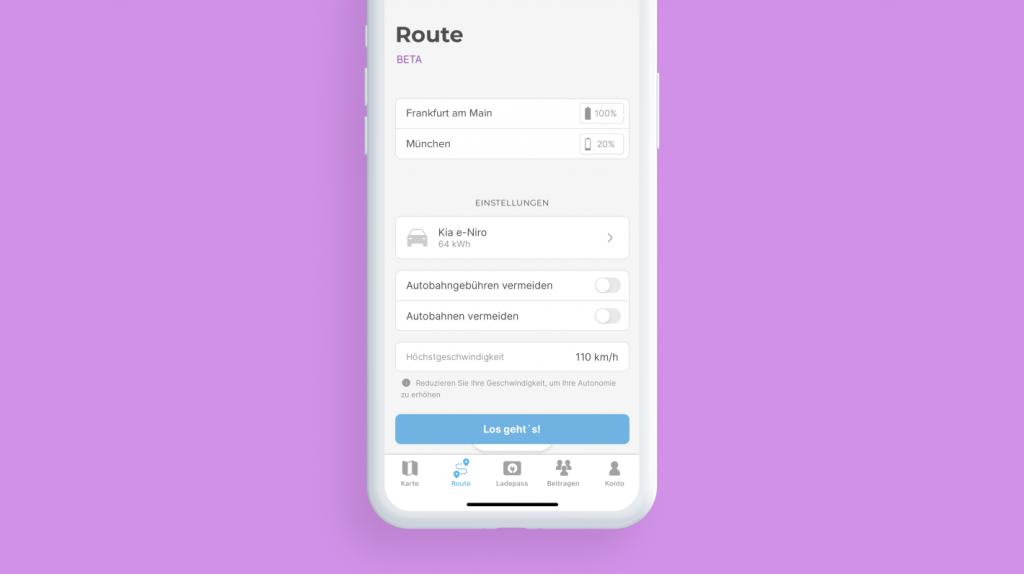 Konfigurationsbildschirm des Chargemap-Routenplaners