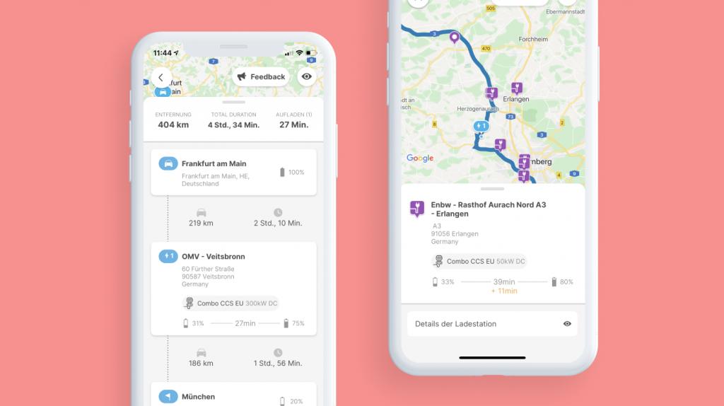 detaillierter Bildschirm für Elektroauto-Routen - Chargemap Routenplaner