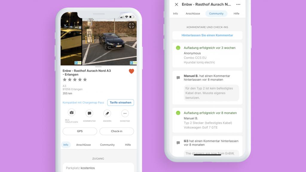 Bildschirm mit den Details einer Ladestation in der Chargemap-App