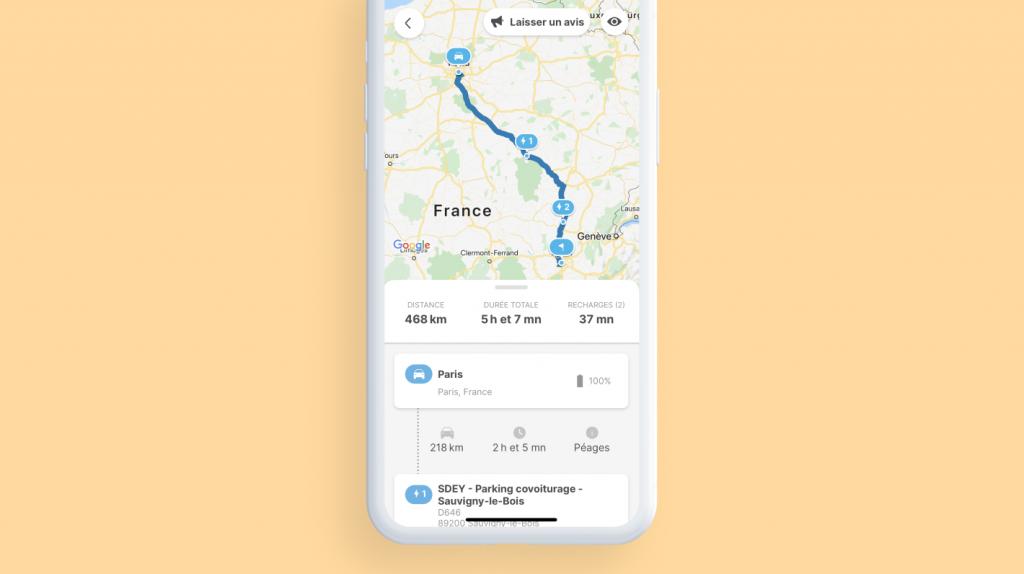 affichage d'un itinéraire calculé par le planificateur d'itinéraire Chargemap