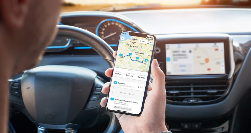 Chargemap route planner on the mobile app and apple carplay