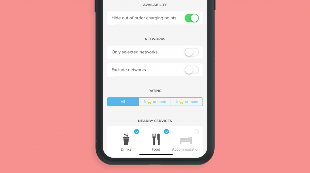 chargemap free advanced filters to find charging stations for electric cars
