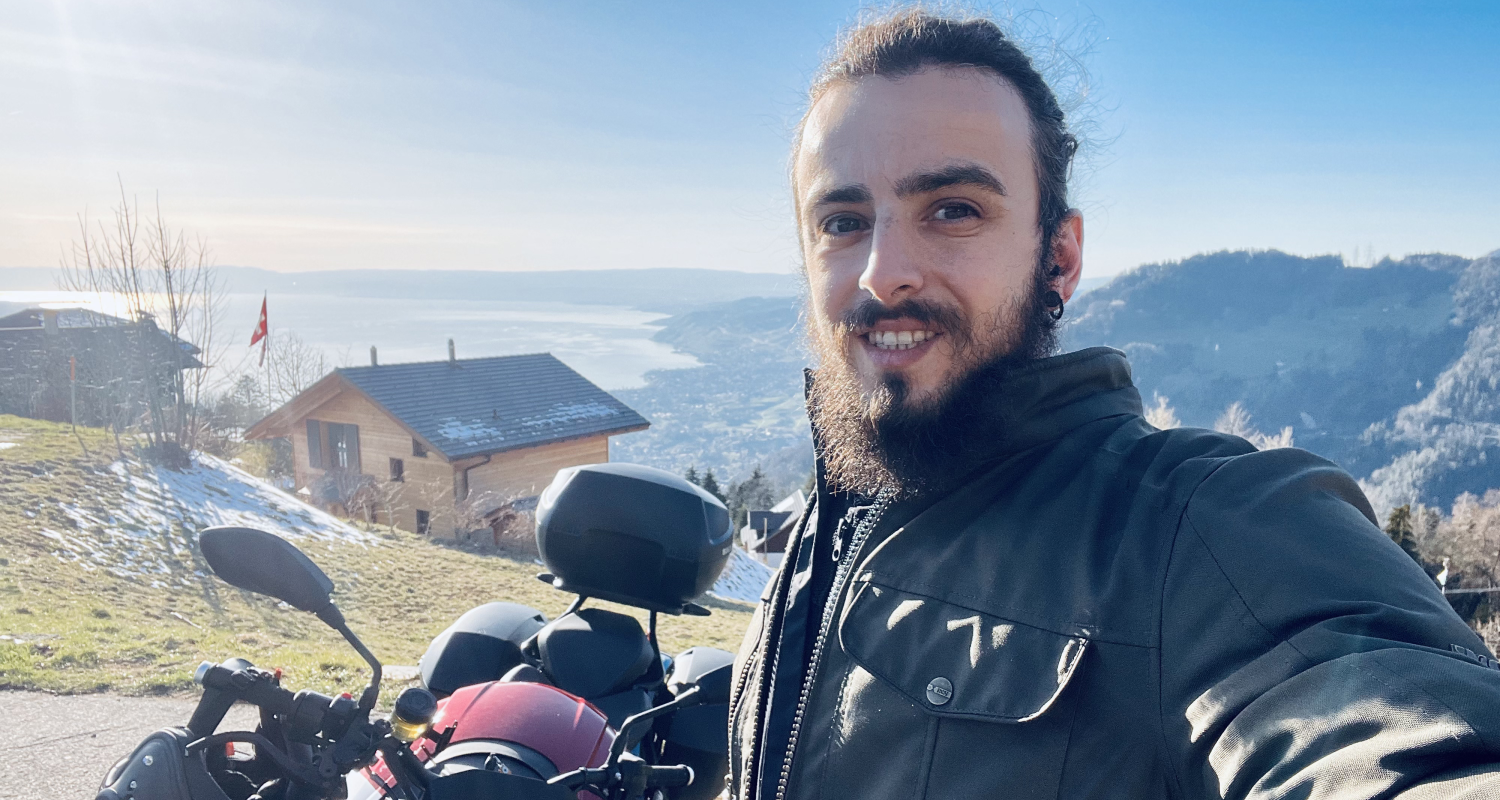 Photo of Stanislas travelling with his Zero SR/F electric motorcycle